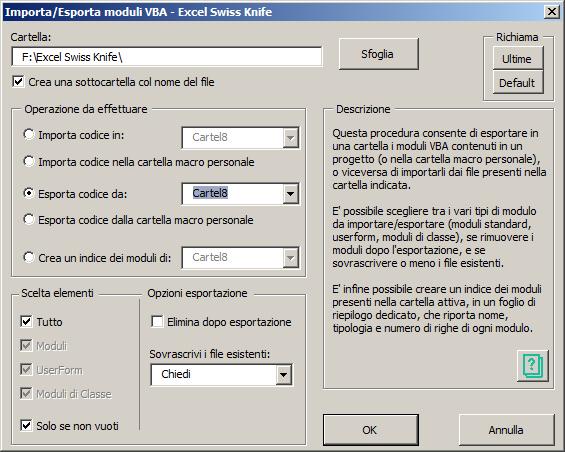 Importa/Esporta moduli VBA